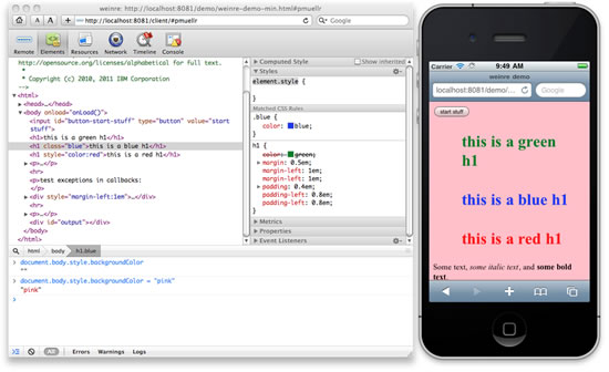 Weinre for On-Device Debuggin