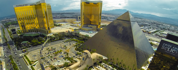 Aerial shot over the Luxor and Mandalay Bay in Las Vegas