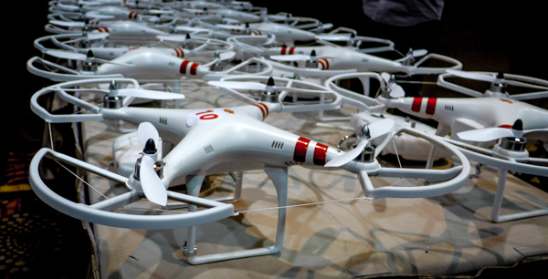 DJI Phantoms awaiting flight
