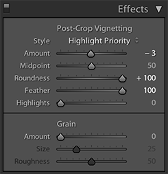 Effects panel in Lightroom