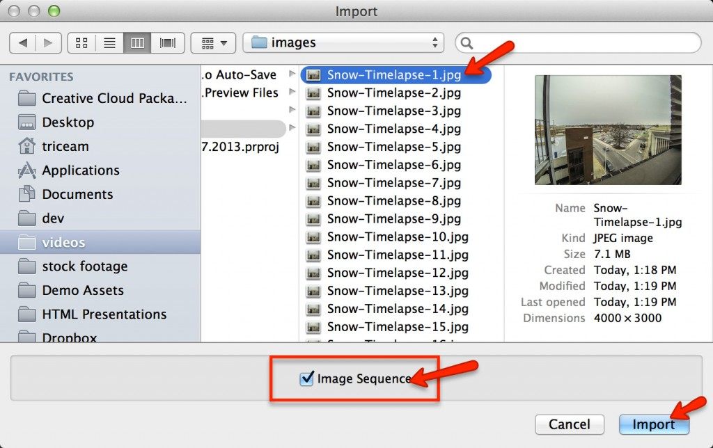 Premiere - Import Image Sequence