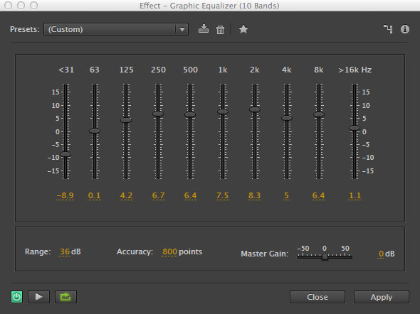 10 Band EQ in Adobe Audition
