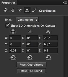 3D Properties - Coordinates