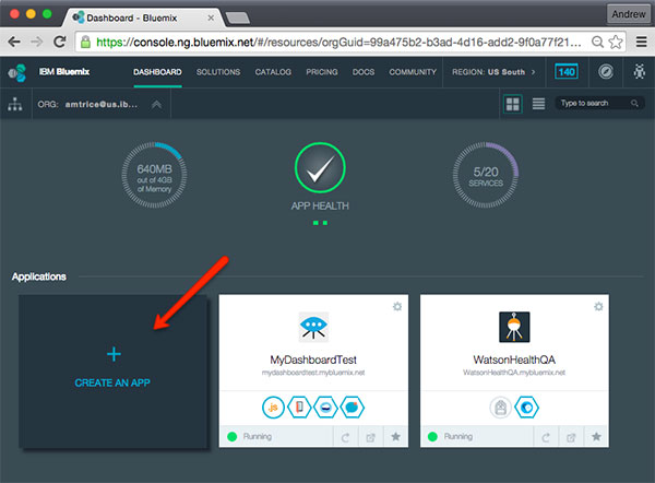 Create a new app from IBM Bluemix Dashboard